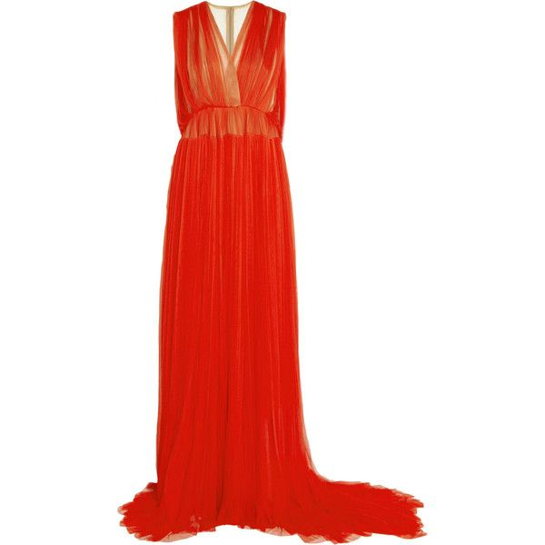 DELPOZO Embellished plissé silk-tulle gown (€3.105) ❤ liked on Polyvore featuring dresses, gowns, tomato red, long silk gown, red gown, tulle gown, long evening gowns and long dresses