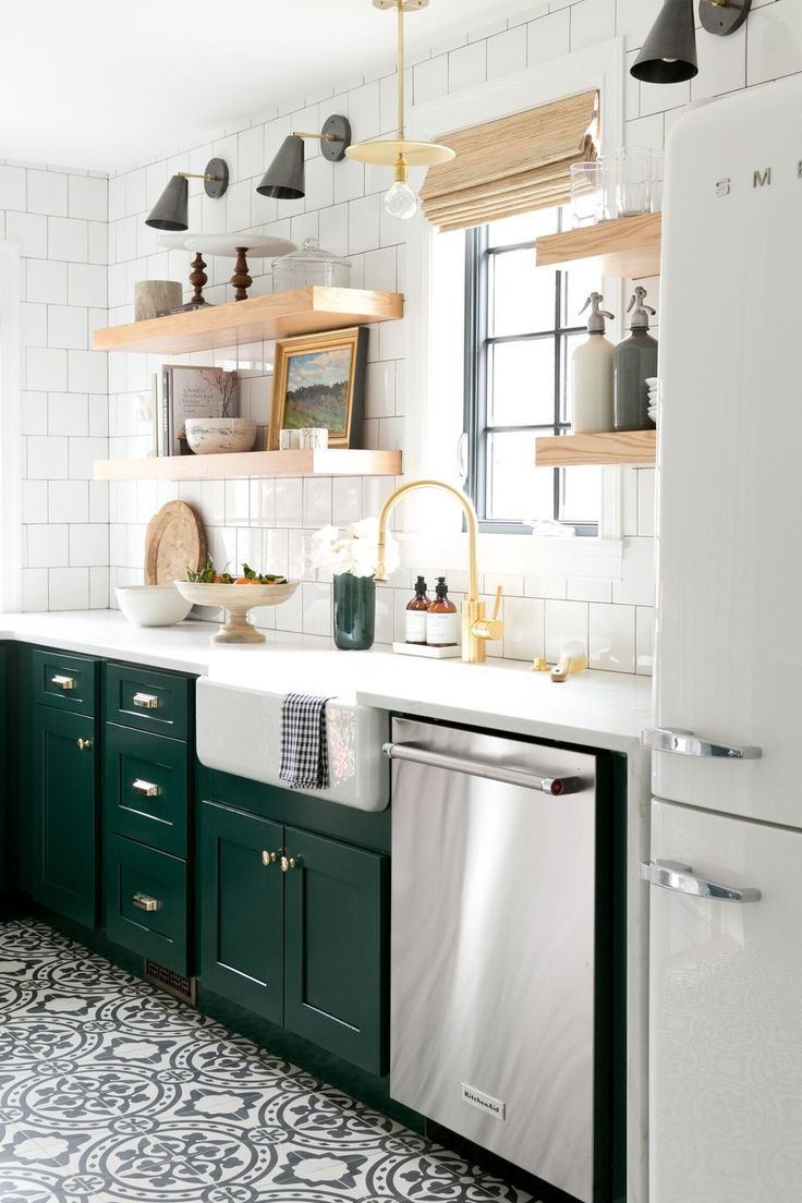 Modern Vintage Kitchen With Cabinets In Benjamin Mooreu0027s Forest Green, Open  Shelving, And Cement Tile.