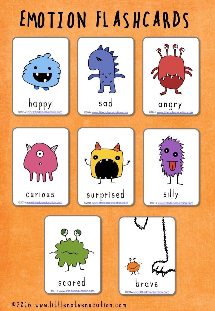Free feelings and emotions flashcards for preschool and ...