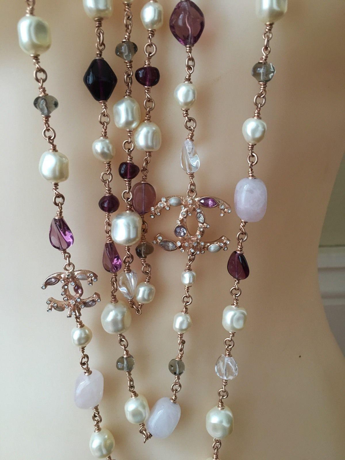 Chanel Rose Gold 4 Cc Pearl Crystals Semi Precious Stones