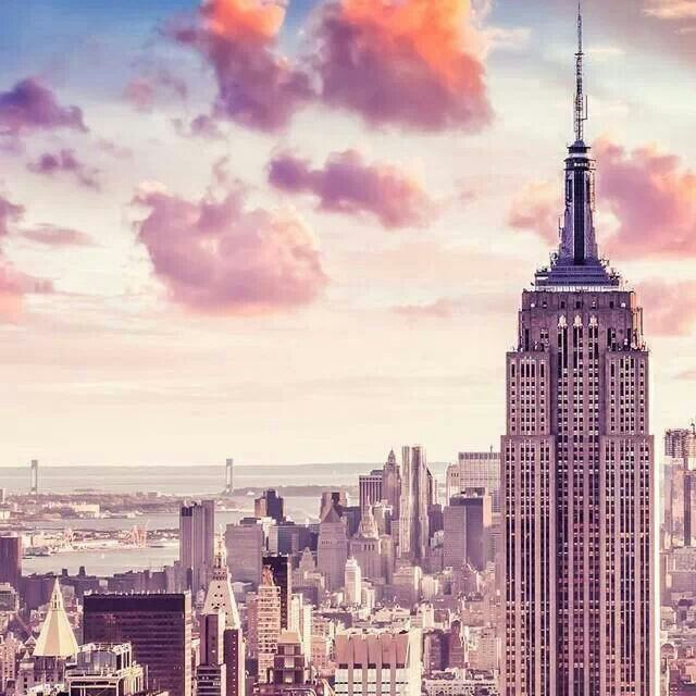 Empire State Building And Pink Clouds Iphone 5 Wallpaper New York City