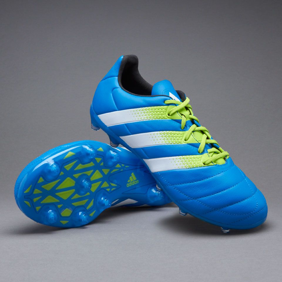 adidas ACE 16.2 FG/AG Leather - Mens Boots - Firm Ground - Shock Blue/White/Semi  Solar Slime