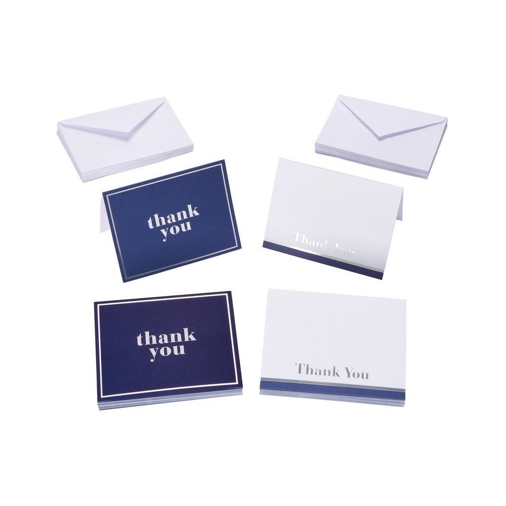 50ct blue and white thank you cards and envelopes thank