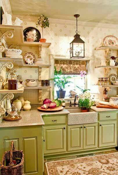Love This Kitchen For The Home Pinterest Kitchens Farmhouse Decor And Green