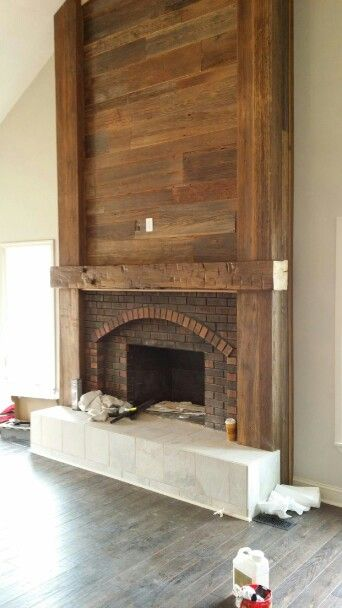 9 39 mantle with weathered heart pine planking and posts we - How to cover brick fireplace ...