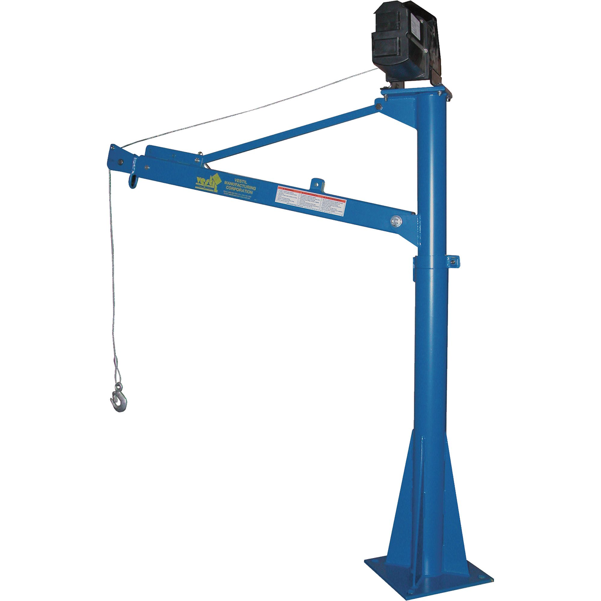 Vestil power lift jib crane 1500 lb capacity 115v ac model