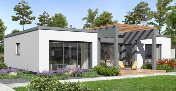 Moderner Bungalow Mit Flachdach Massiv Gebaut Von Ytong Bausatzhaus Haus Bungalow Moderne Hauser Moderne Hauser Bauen