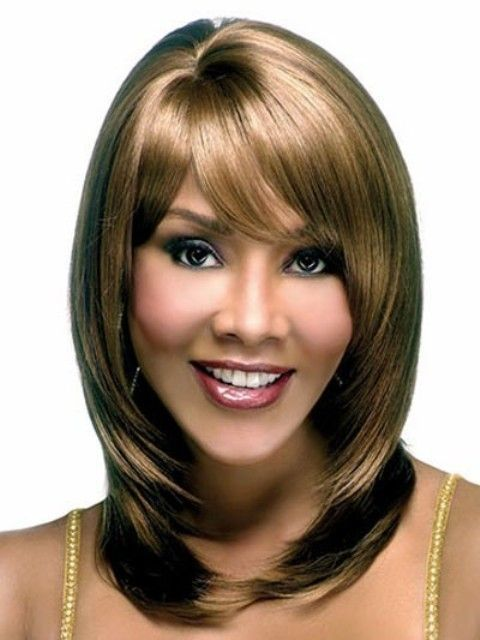 Stunning Medium With Side Bangs Synthetic Wig