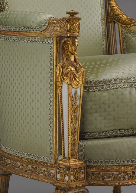Armchair (bergère en cabriolet), 1788 Jean-Baptiste-Claude Sené (French, 1748–1803) Carved, painted, and gilded walnut; H. 39 x W. 27 1/4 x D. 25 1/4 in. (99.1 x 69.2 x 64.1 cm), MET