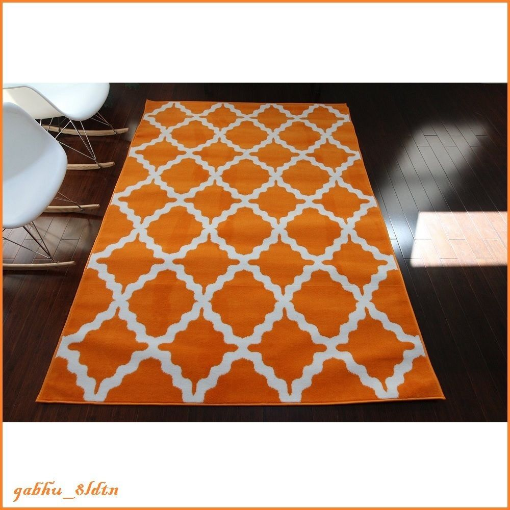 6 X 8 Area Rug Carpet Trellis Design Carrot Orange White