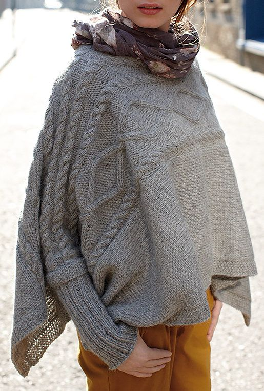 Free Knitting Pattern for Madison Poncho - This cuffed poncho design ...
