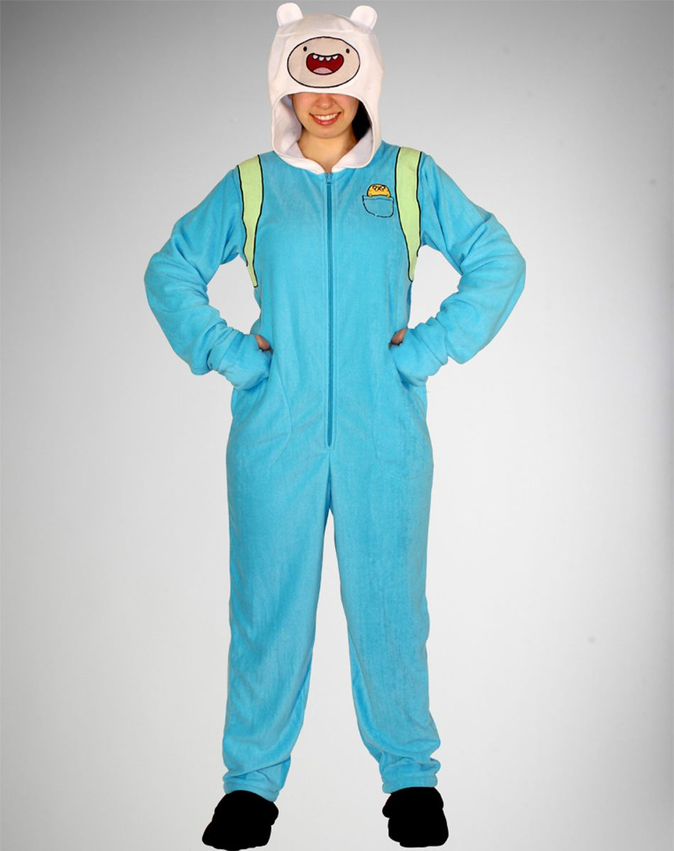 World s Halloween Costume Store. Spencer s Adventure Time Finn Hooded  Footed Adult Pajamas df96c7cd2