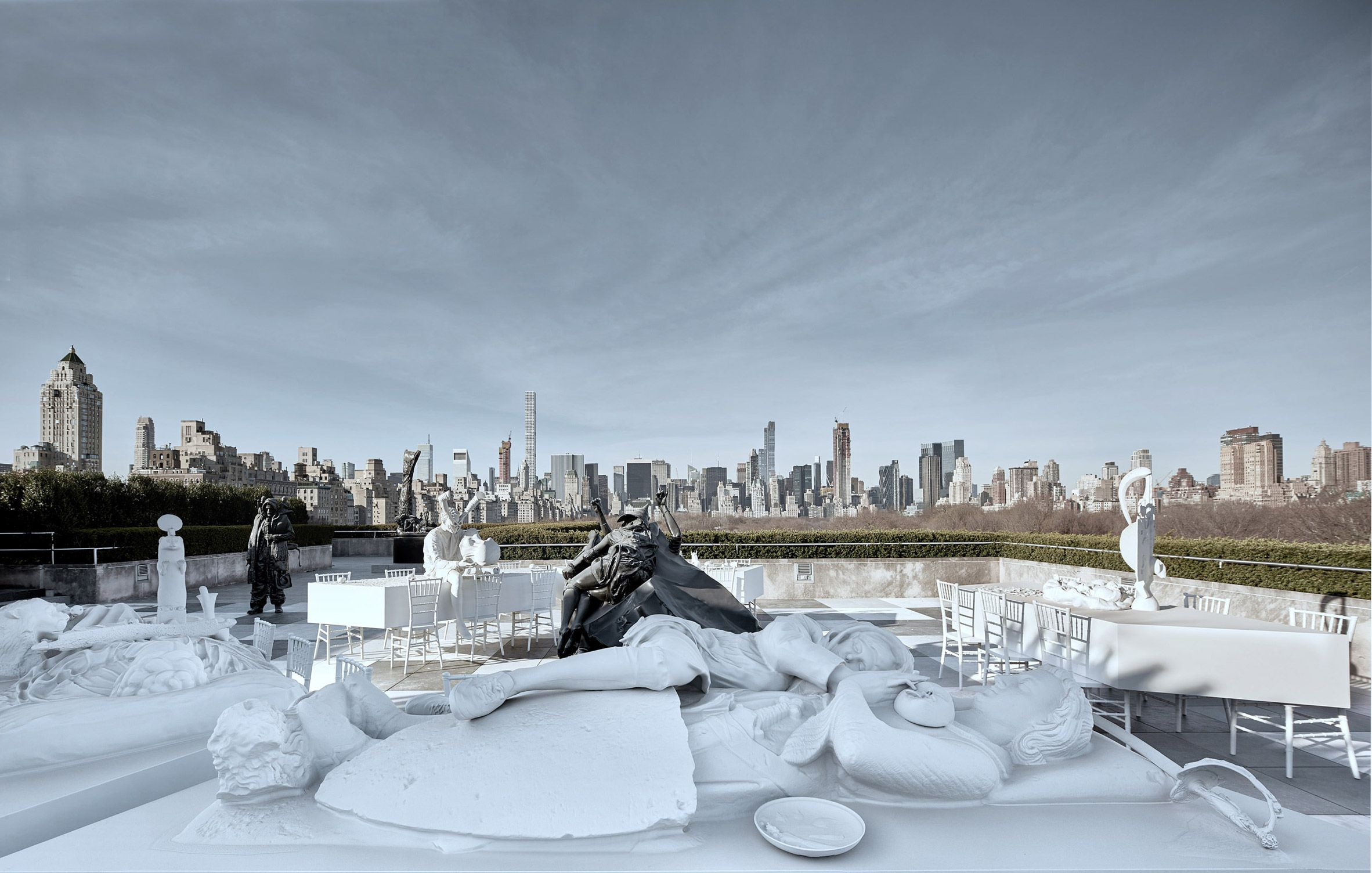 Argentinian Artist Adrian Villar Rojas Has Created A Plaster Cast Dinner Party On The Roof Of The Metropolitan M Best Rooftop Bars Installation Art Nyc Rooftop