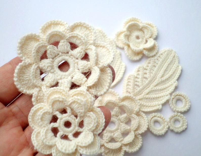 Crochet flower motifs Cream wool acrylic flower applique Set of 11 Irish crochet lace Wedding decor Hat dress cardigan decor #irishcrochetflowers