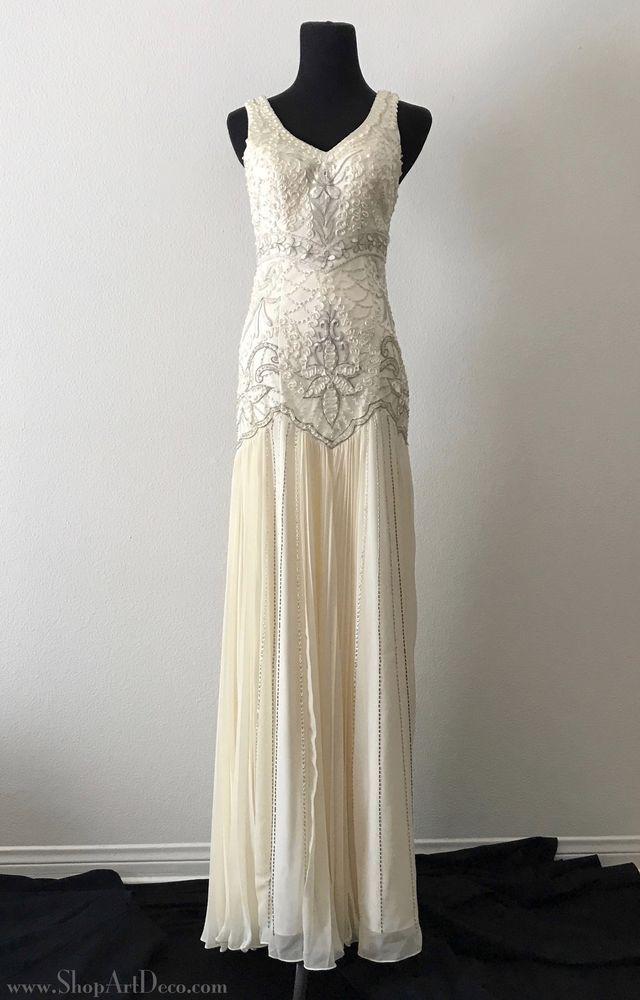 13cd9b89e0 Details about Sue Wong 1920s Beaded Drop Waist Wedding Dress ...