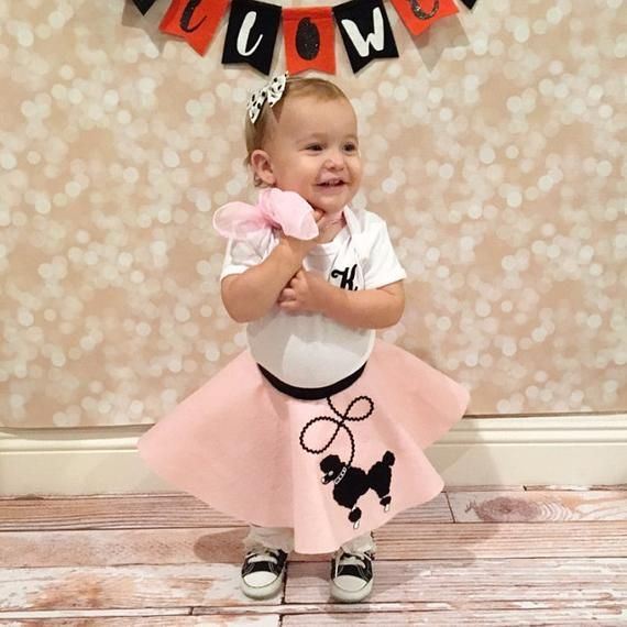 Hip Hop 50s Shop Baby//Infant 3 pc Poodle Skirt Outfit Halloween Costume