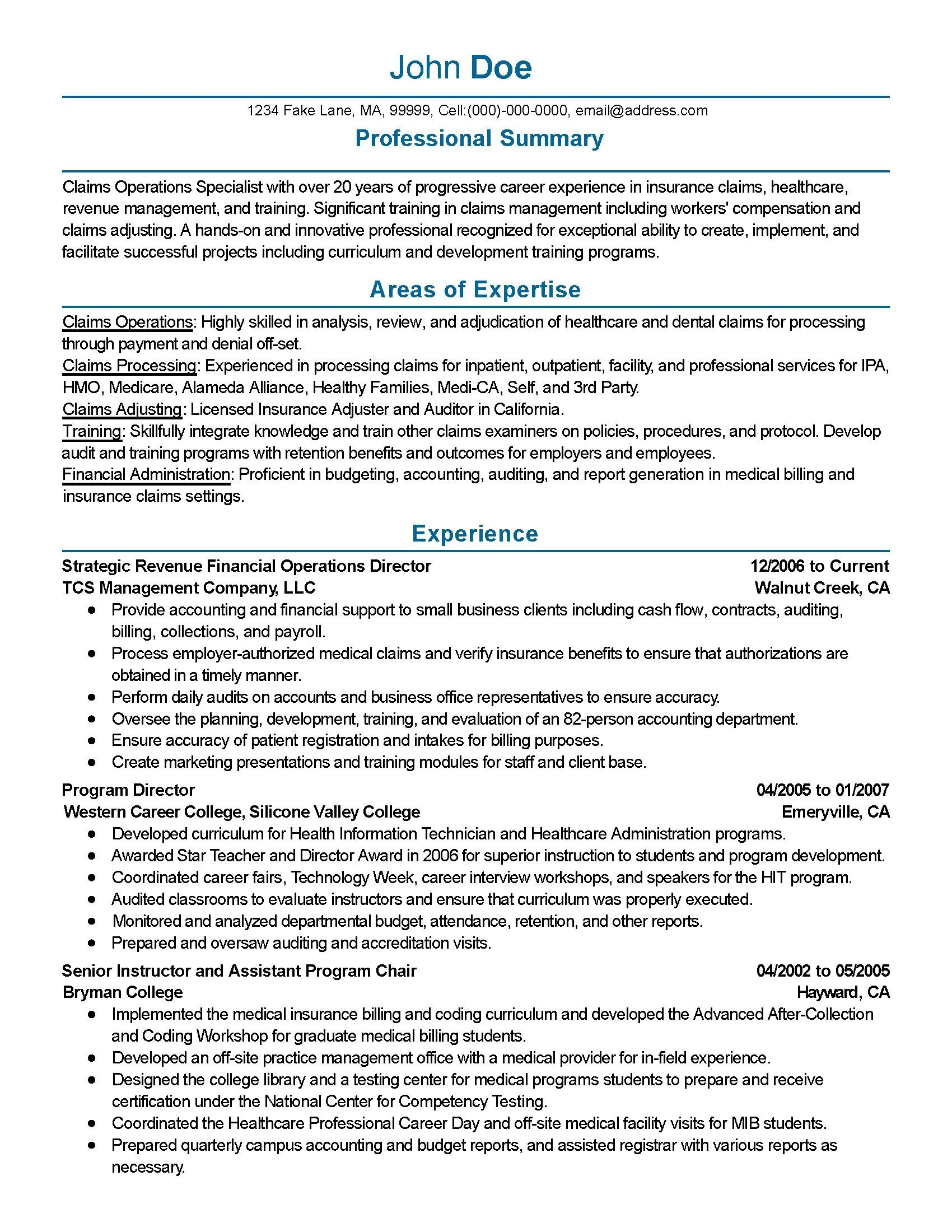 Claims adjuster resume sample lovely claims adjuster