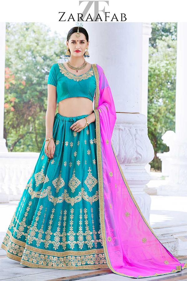 e4495c8f9c Shop turquoise blue lehenga choli online from wide range of colorful  designer blue lehengas at ZaraaFab. We offer wide range of blue color  lehenga choli ...