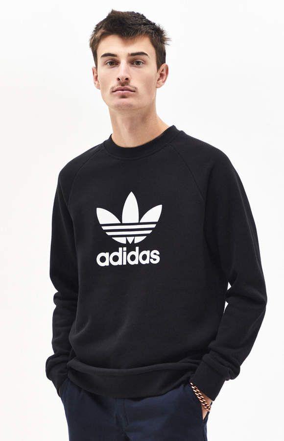 a534e8c1b5d adidas Trefoil Warm-Up Black Crew Neck Sweatshirt