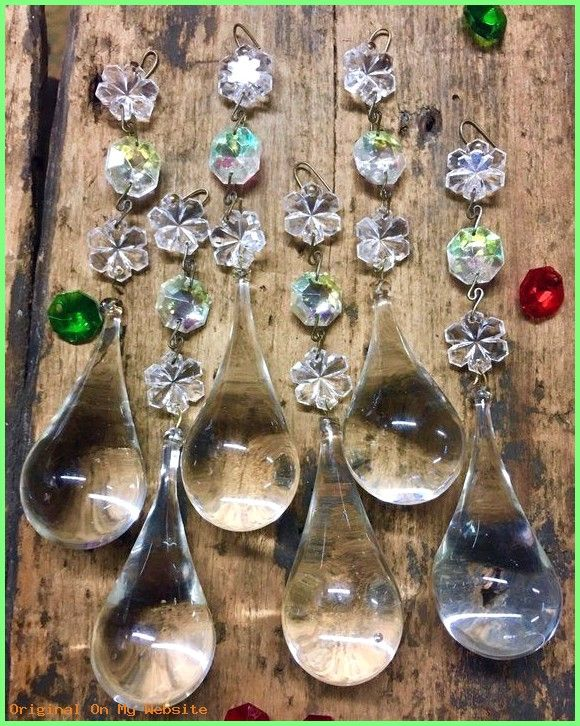 "1 Antique 8/"" vintage Crystal Glass Gothic Prism Chandelier lamp Part Luster"