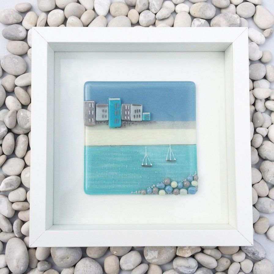 A gorgeous fused glass picture, framed and ready to hang. Please ...