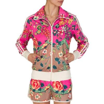 ca6060c962f7 Adidas Pink Floral Print Tracksuit Jacket