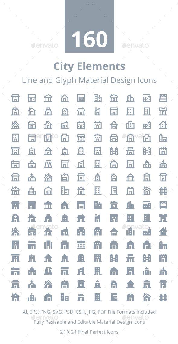 160 City Material Design Icons Icon Design Material Design Icon