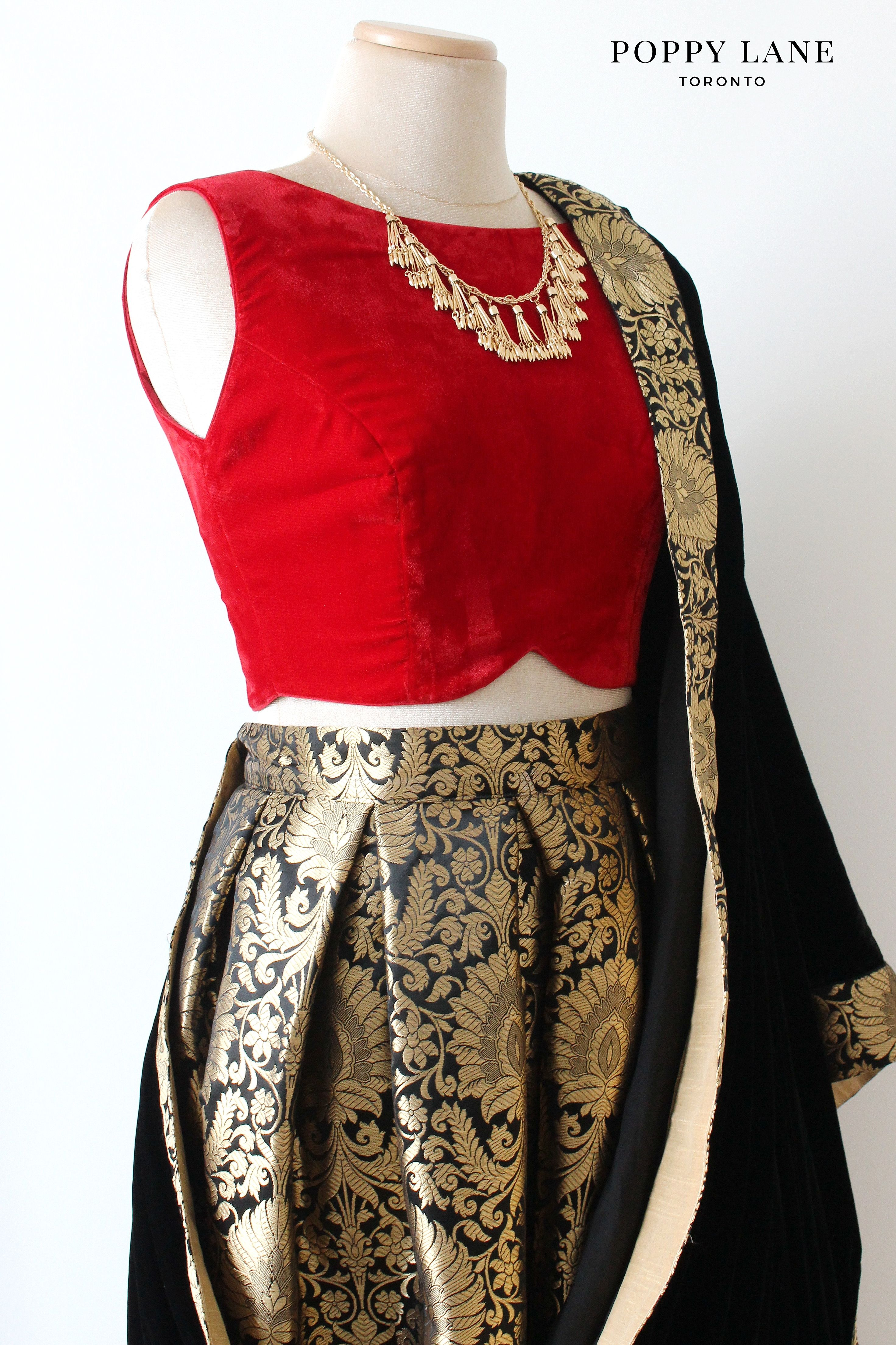 Bright Red Velvet Sari/Lengha Crop Top Blouses with Royal Black Brocade Skirts + Velvet Dupattas! Shop now at poppylane.ca
