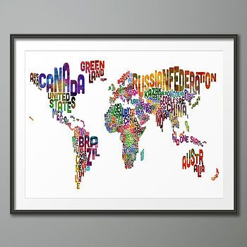 Typography world map art print gumiabroncs Image collections