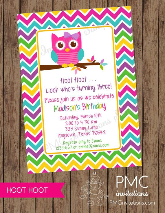 printed girls chevron owl birthday invitations any age 1 00 each