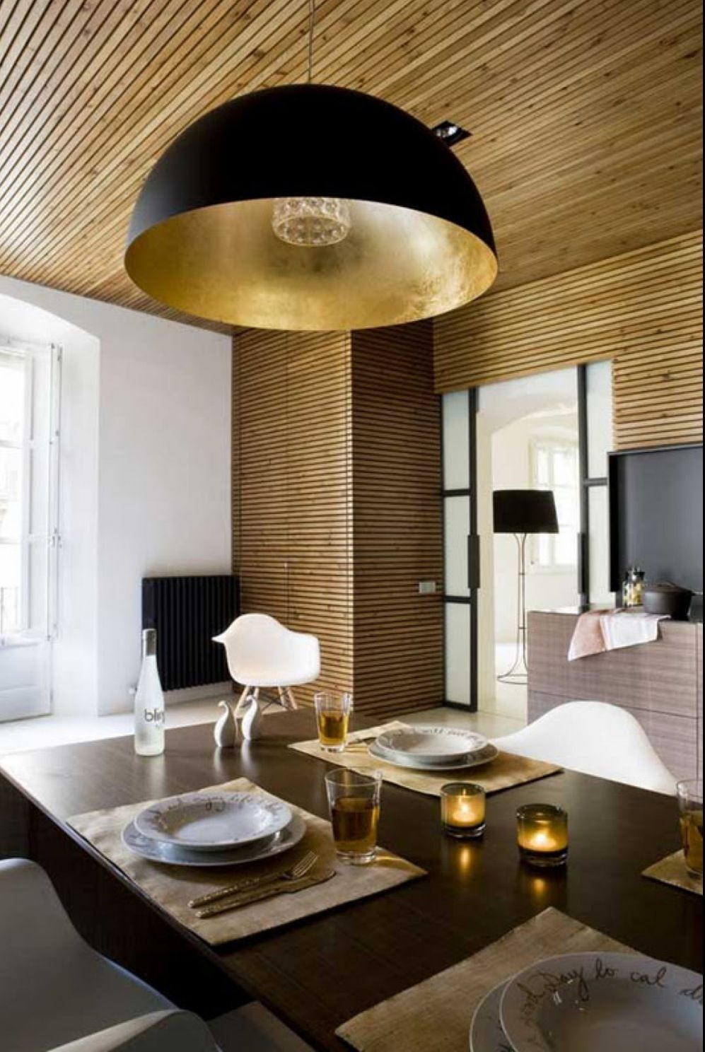 Black and gold pendant light. All that glitters...gold