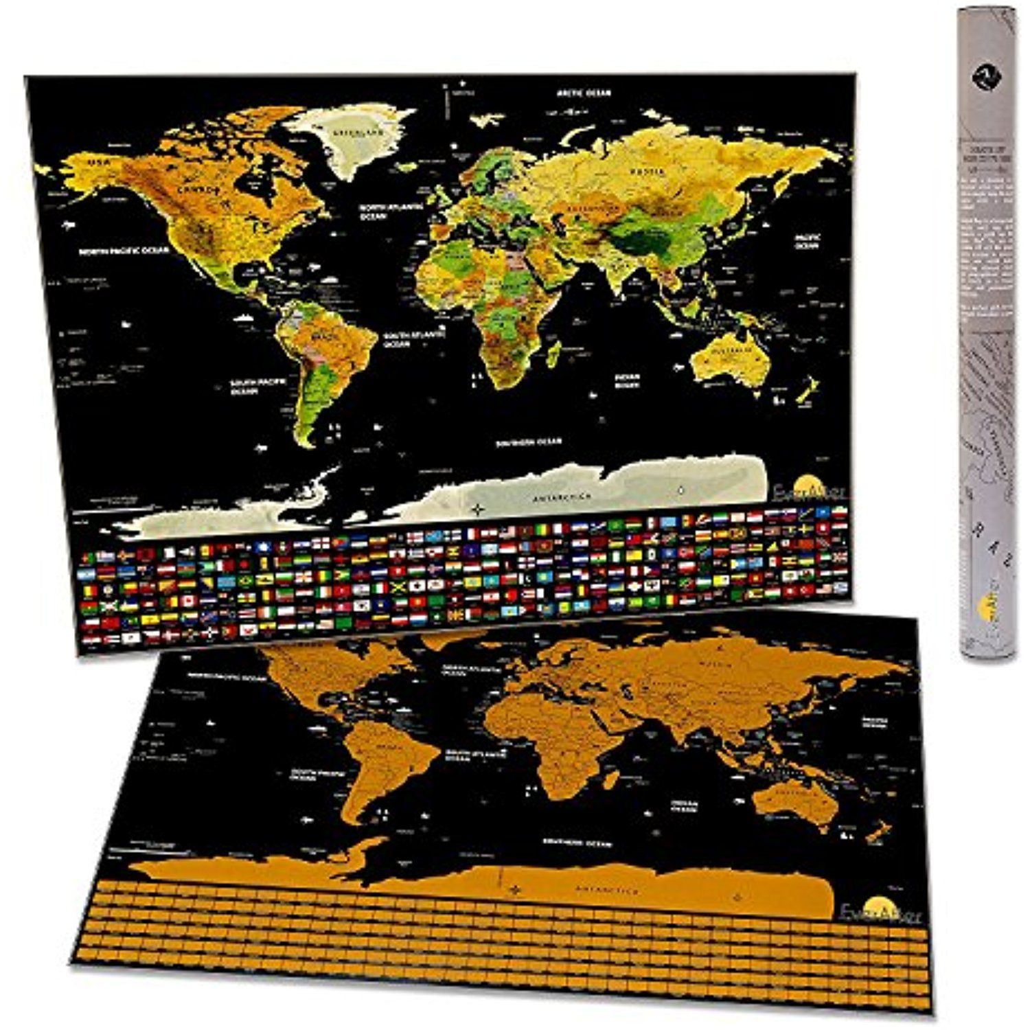 Extra large scratch off world map poster detailed design and extra large scratch off world map poster detailed design and vibrant colors amazing gift for travellers with flags and us states outlined gumiabroncs Images