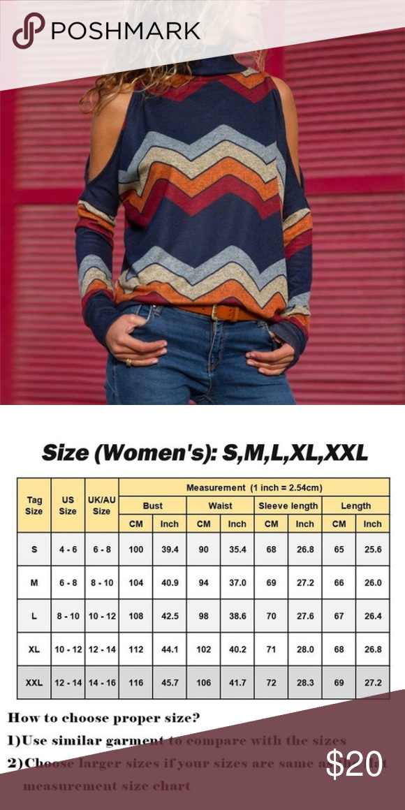 b6469431e618bd Cold shoulder mock turtleneck Bold zigzag pattern Blue red orange   grey  Long sleeve Polyester rayon Machine wash See chart for best fit NWOT Tops  Blouses