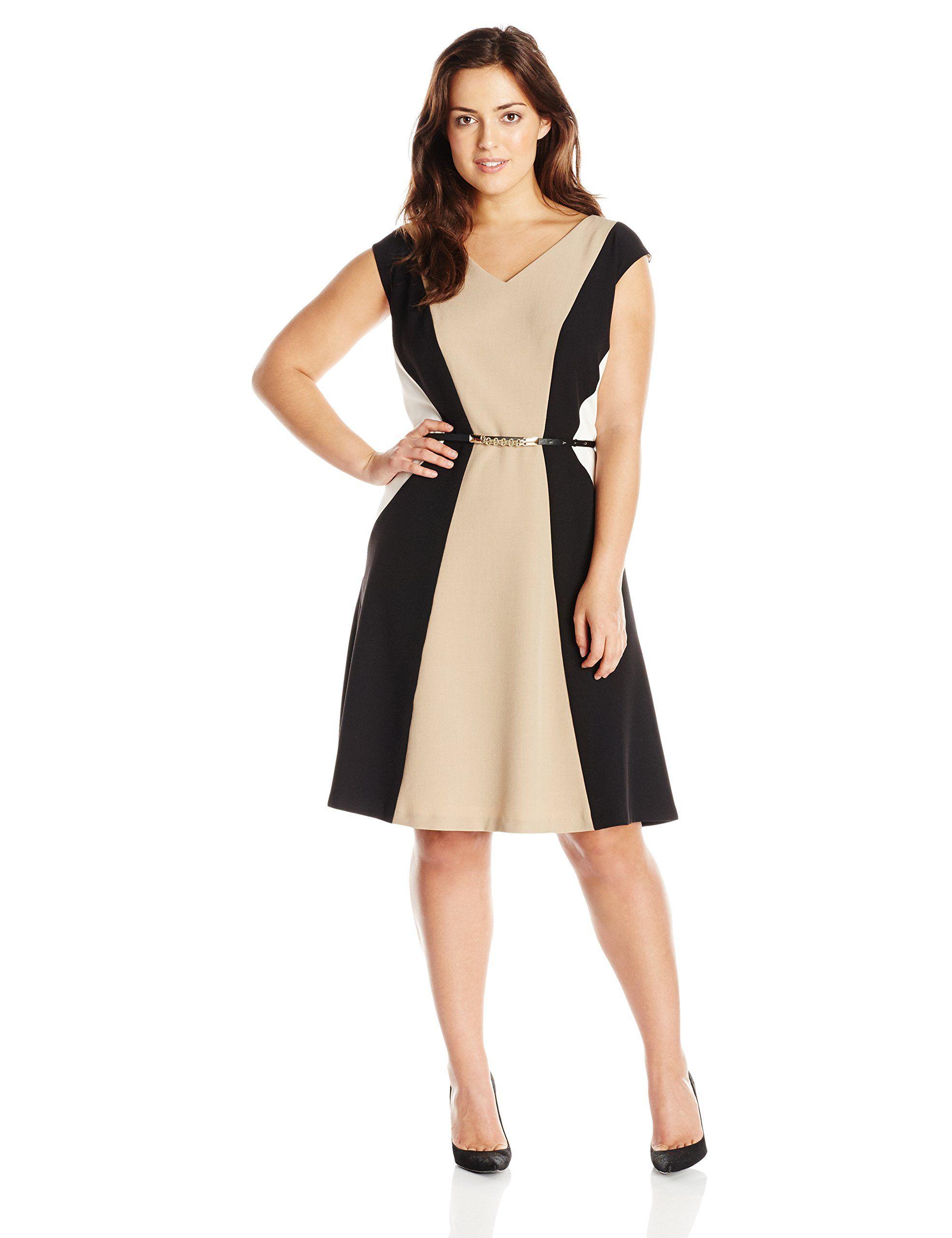 Sandra Darren Women\'s Plus-Size Cap Sleeve Color Block Dress with ...