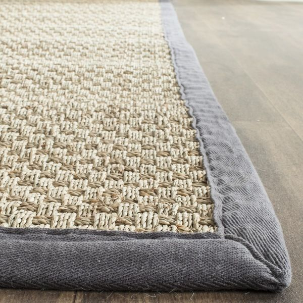 safavieh casual natural fiber natural and dark grey border seagrass rug 9u0027 x 12 - Seagrass Rug