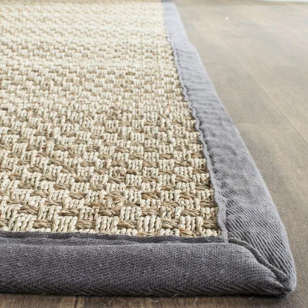 safavieh casual natural fiber natural and dark grey border seagrass rug 9u0027 x 12 - Seagrass Rug