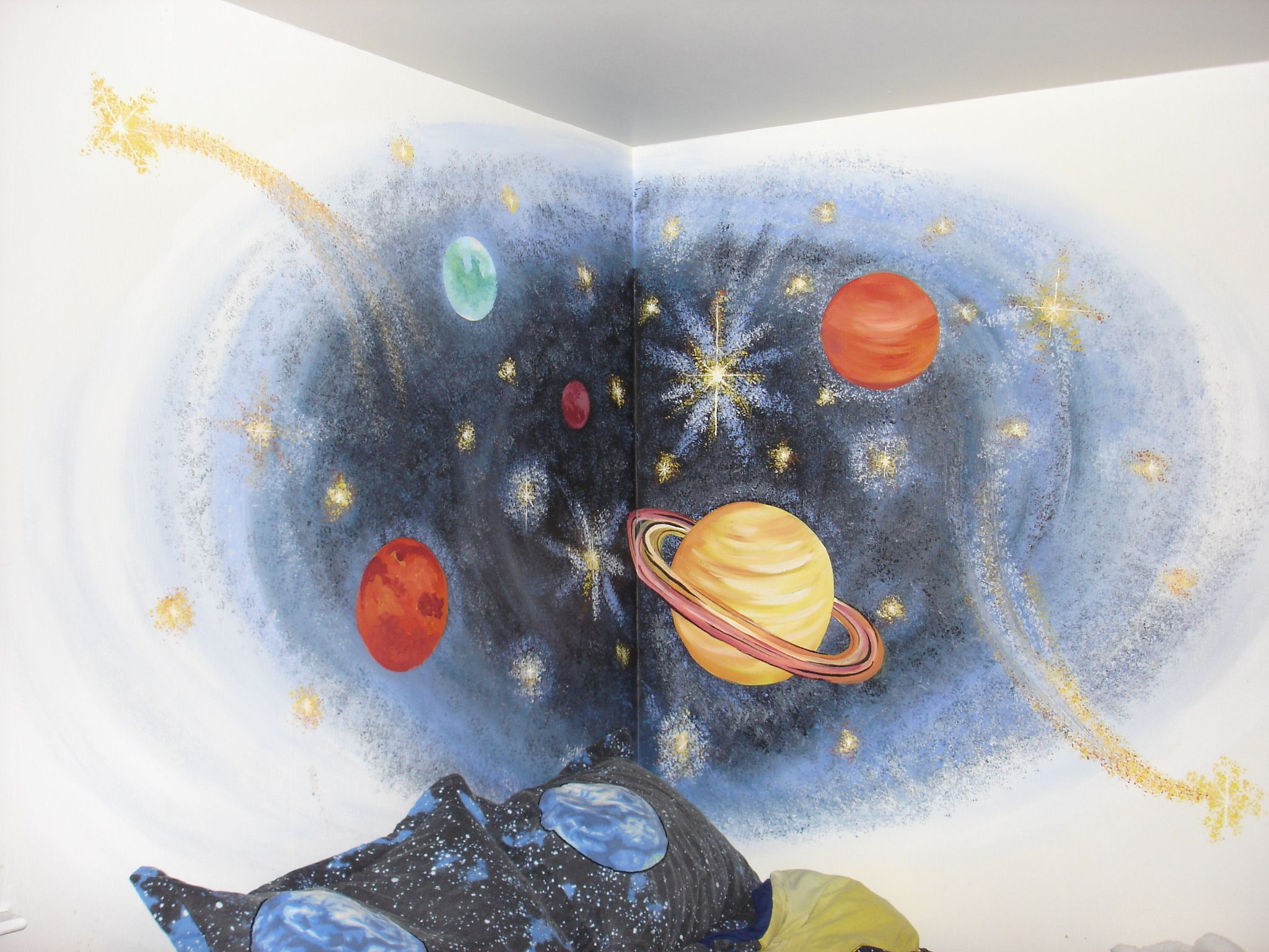 Hand Painted Space Mural for Boys Room