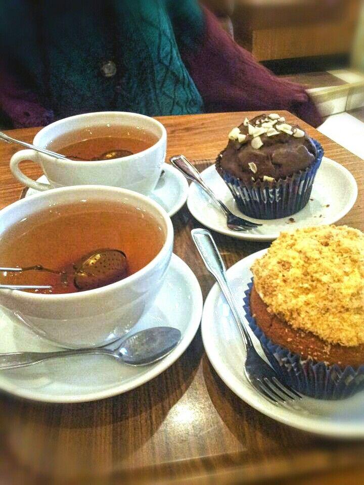Delicious 'fika' in Stockholm  [2012] #travel #Stockholm #Sweden #fika #muffin #tea #break