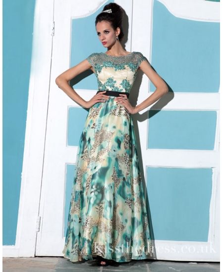 e686f5b505 Green Floral Chiffon Print Long Prom Dress DLQ009 - Kissthedress.co.uk. free  shipping leopard printed mother of ...