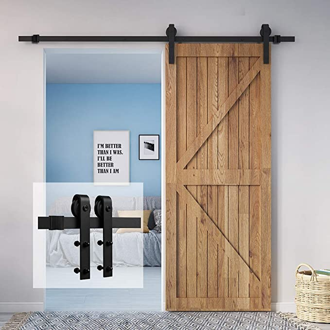 Homlux 6ft Heavy Duty Sturdy Sliding Barn Door Hardware Kit Single Door Smoothly And Quietly Simple In 2020 Sliding Barn Door Hardware Sliding Barn Door Barn Door