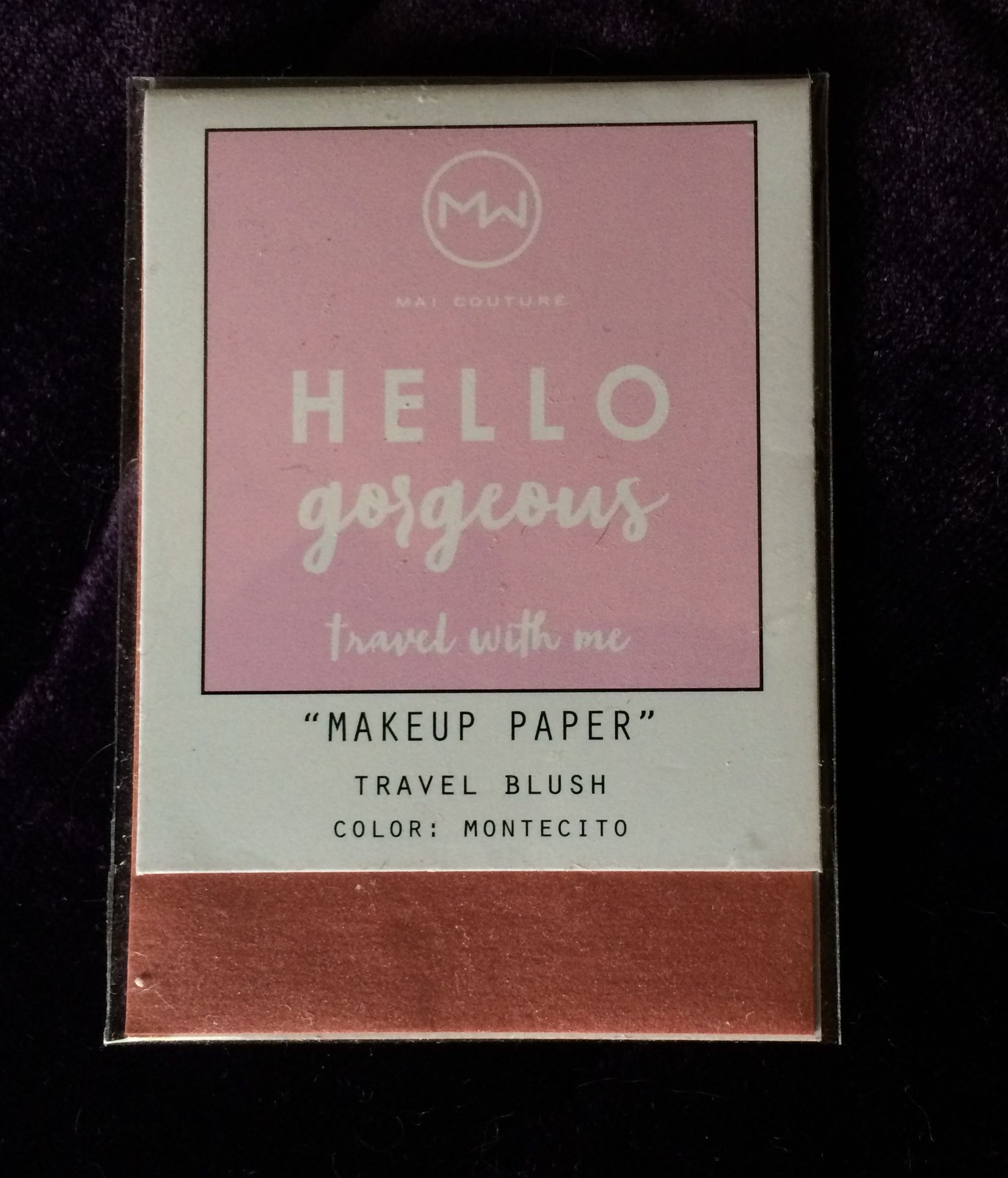 Mai Couture Make-up paper travel blush Montecito- it's a little more pink than it looks here.