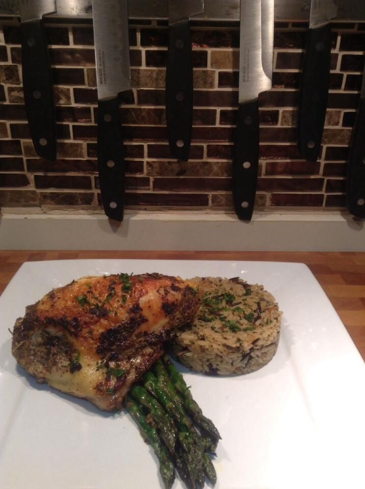 Roasted chicken, wild rice & asparagus