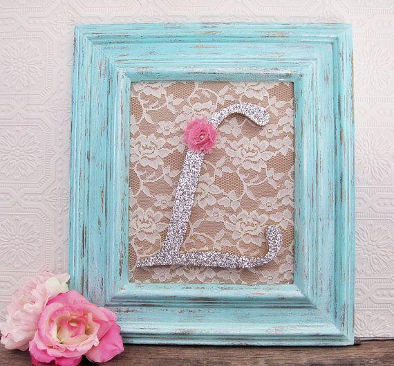 Large Letter L Aqua Nursery Decor Baby Girl por SeaLoveAndSalt ...