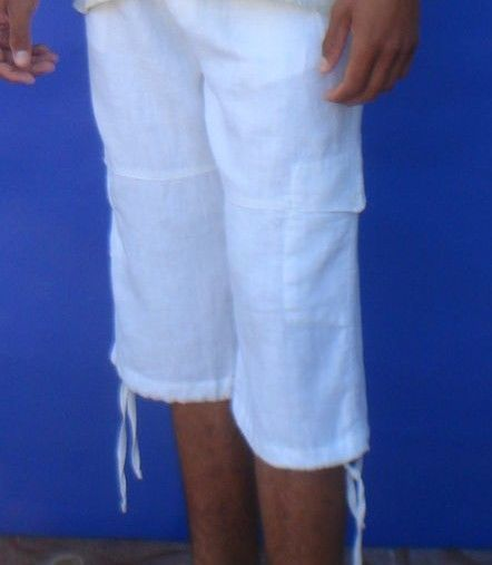 Linen Beach Shorts / Pants Men's Capri - Draw String White for ...