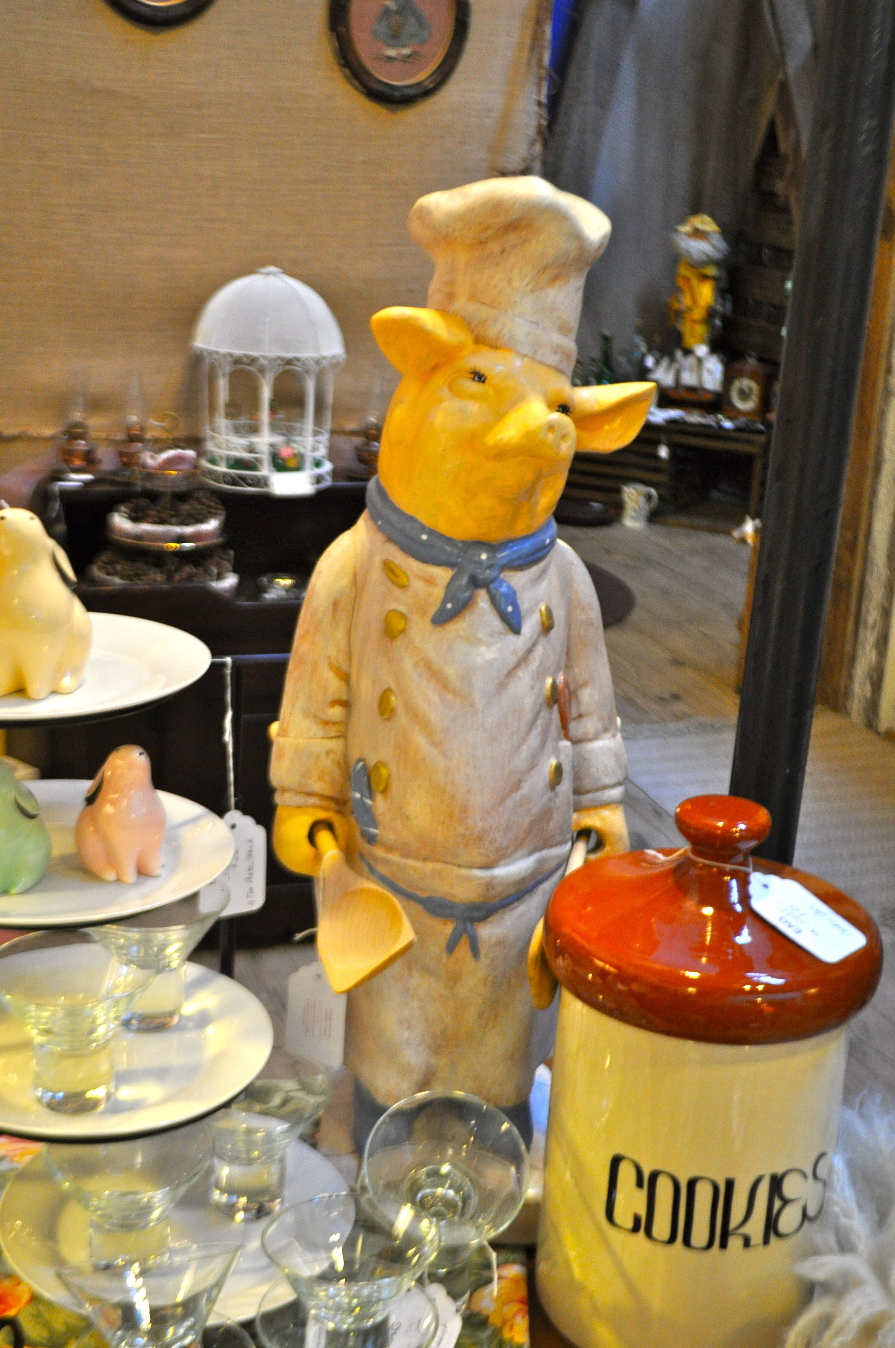 large chef pig with wooden kitchen utensils 55 dollars cookies