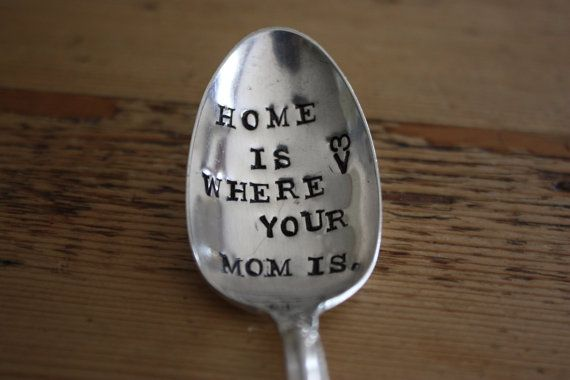 Hand Stamped Mothers Spoon  Home Is Where by ForSuchATimeDesigns