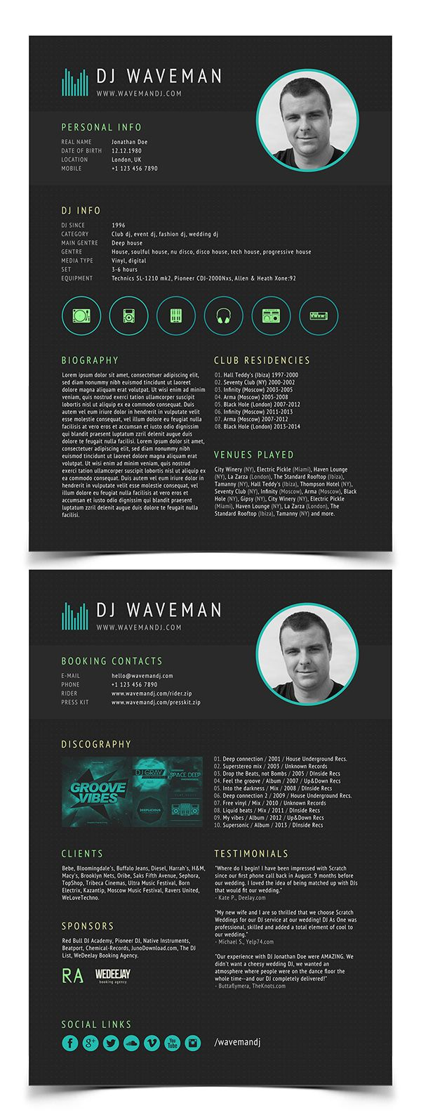 DJ Resume template | resumes | Pinterest | Template, Resume cv and ...