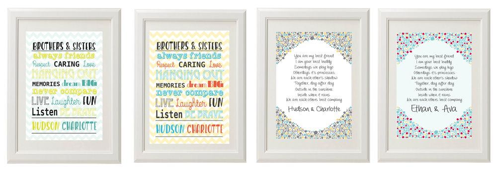 Wall art prints for brothers and sisters.