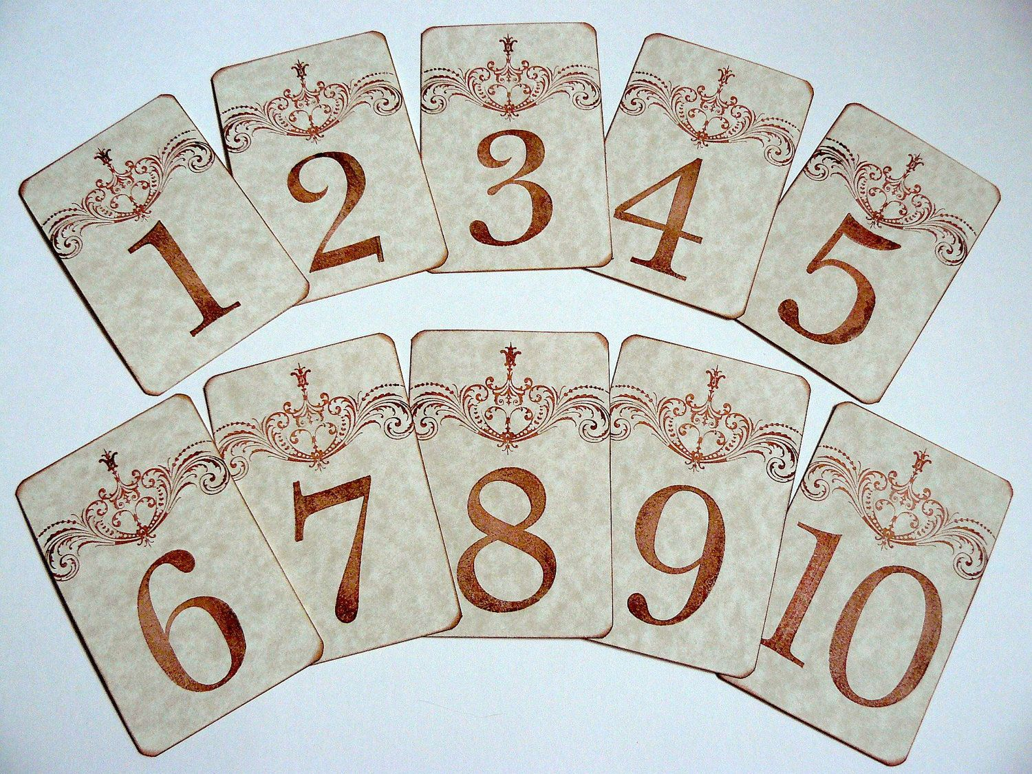 printable wedding place cards vintage%0A Table Number Cards  Vintage French Wedding Decoration  Table Markers   Aged Parchment