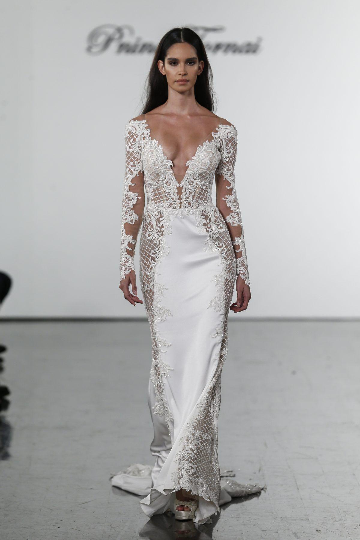 Vneck long sleeve crepe wedding dress with cutouts